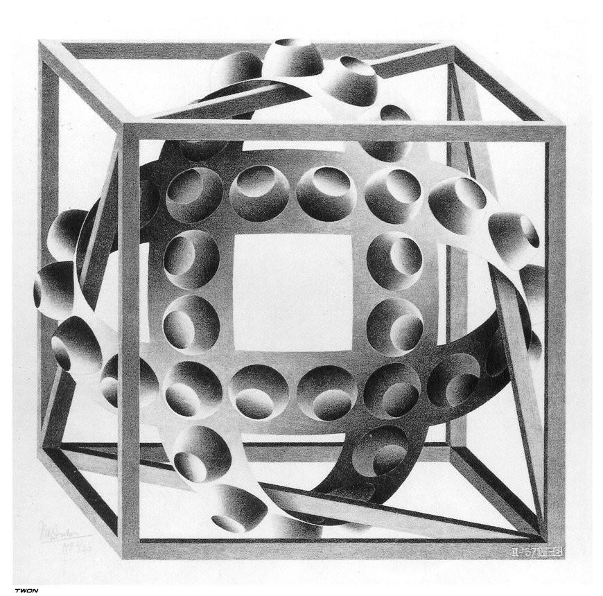 Мауриц Корнелис Эшер. Куб с волшебной лентой