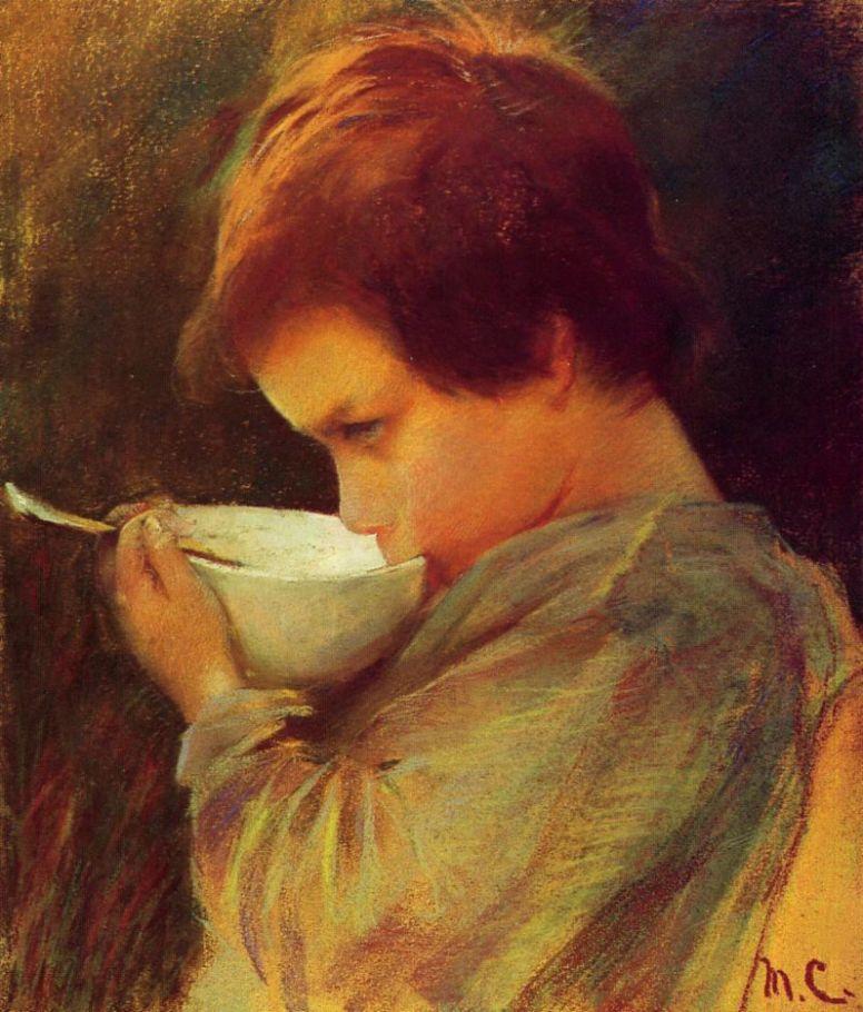 Мэри Кассат. Ребенок, пьющий молоко
