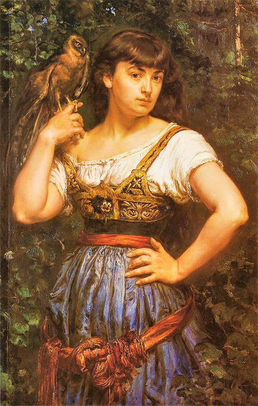 Ян Матейко. Портрет Елены Матейко, дочери художника, с ястребом