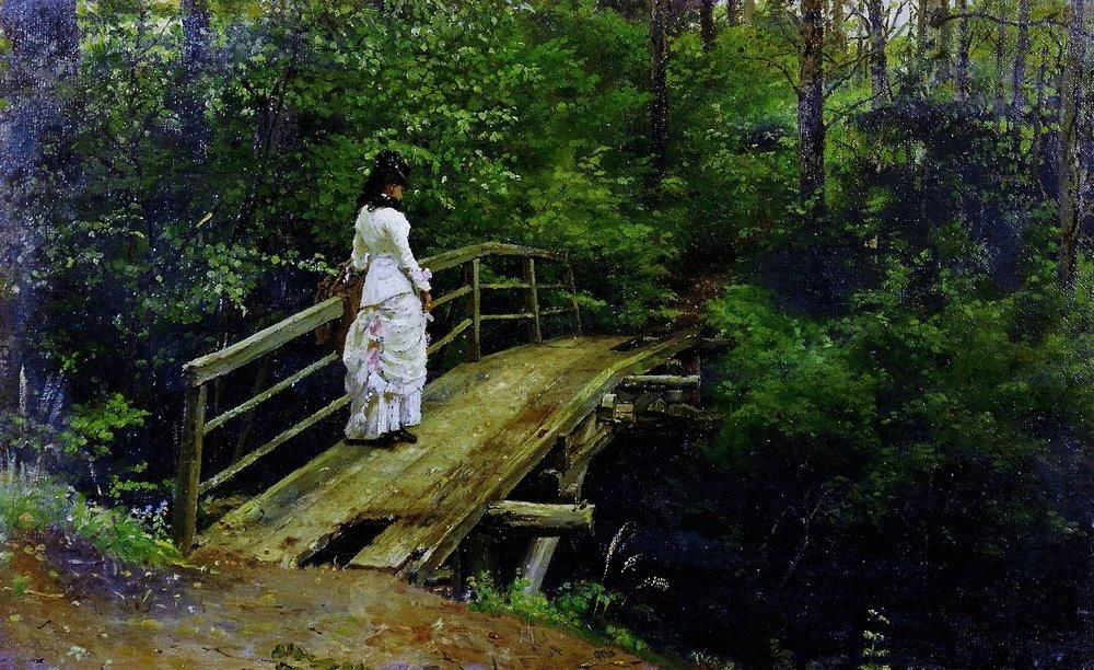 Илья Ефимович Репин. Летний пейзаж (В.А.Репина на мостике в Абрамцеве)