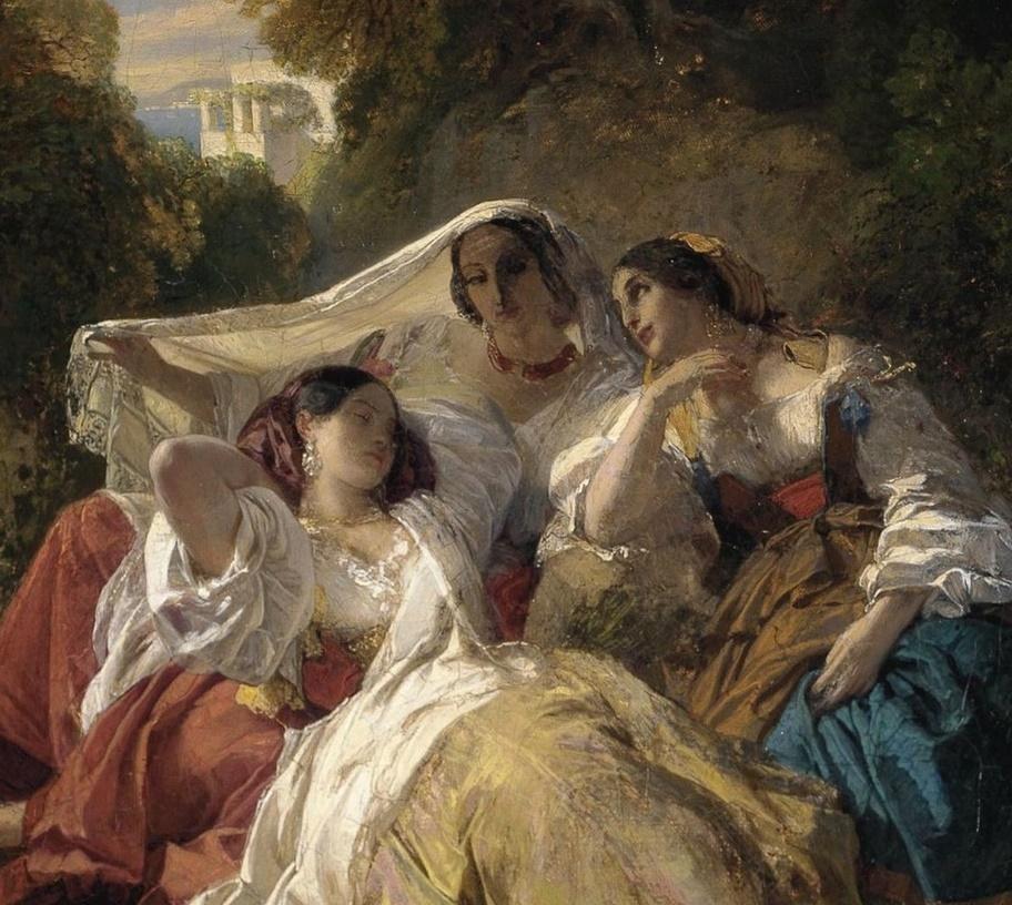 Franz Xaver Winterhalter. Siesta (Three girls in the shade of the trees). Fragment
