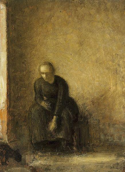 Вильгельм Хаммерсхёй. Женщина, кормящая кошку