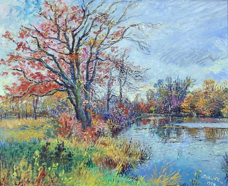 Давид Давидович Бурлюк. Осенний пруд