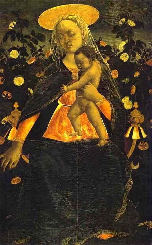 Domenico Veneziano. Madonna with child in the rose garden