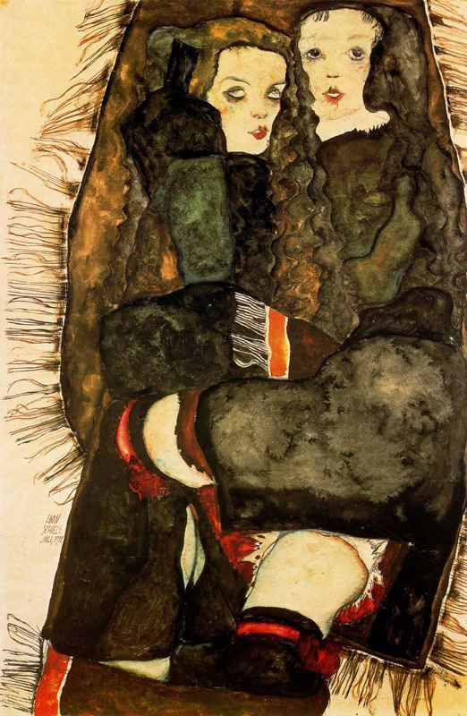 Egon Schiele. Two girls on a blanket with fringe
