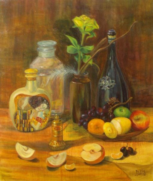 Larissa Lukaneva. Still life with Turkish mill and fruit