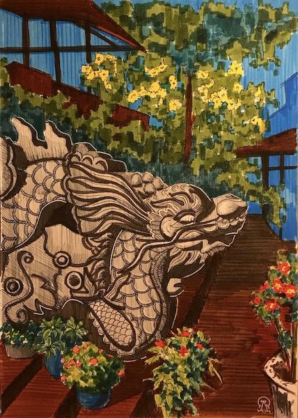 Larissa Lukaneva. Phu Quoc. Stone dragon. Sketch.