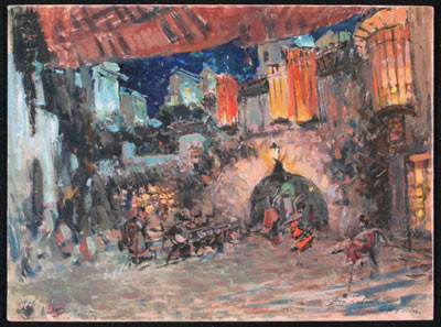 "Konstantin Korovin. A sketch of the scenery. The yard of the tavern. Moscow Imperial Bolshoi theatre. ""Don Quixote"""