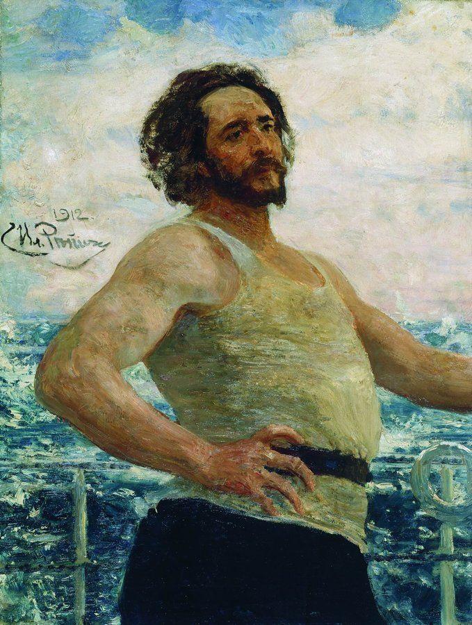 Ilya Efimovich Repin. Portrait of writer L. N. Andreyev on a yacht