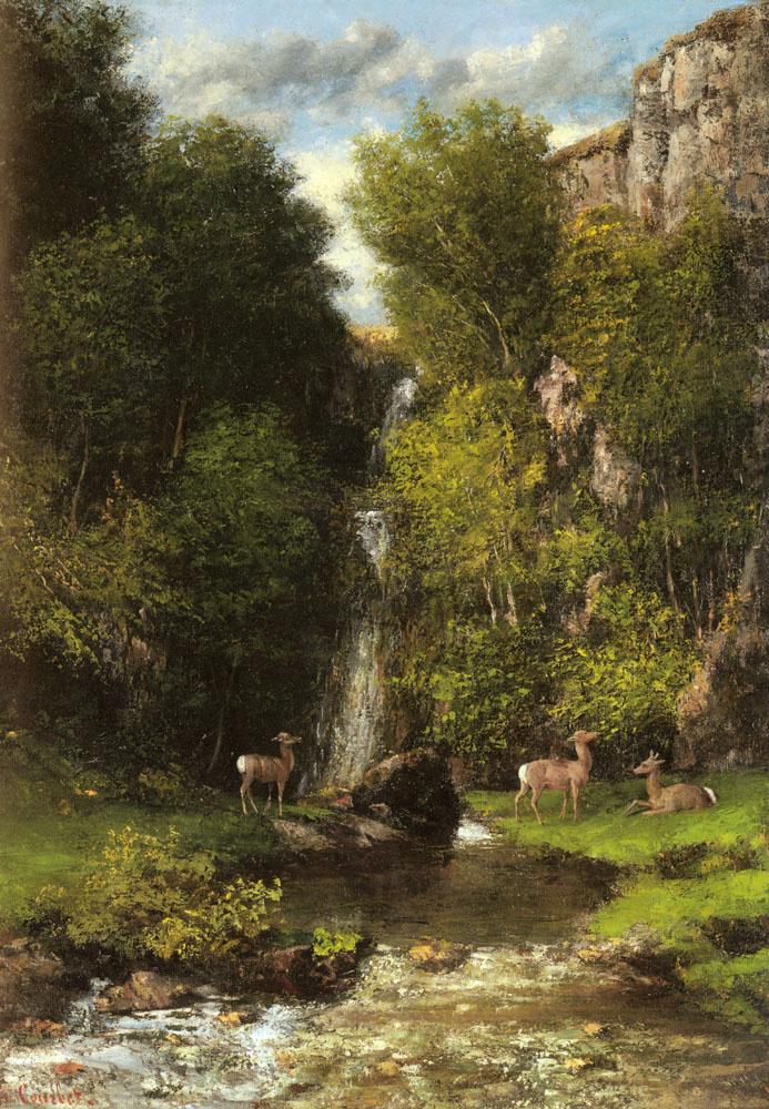 Гюстав Курбе. Семья оленей в пейзаж с водопадом