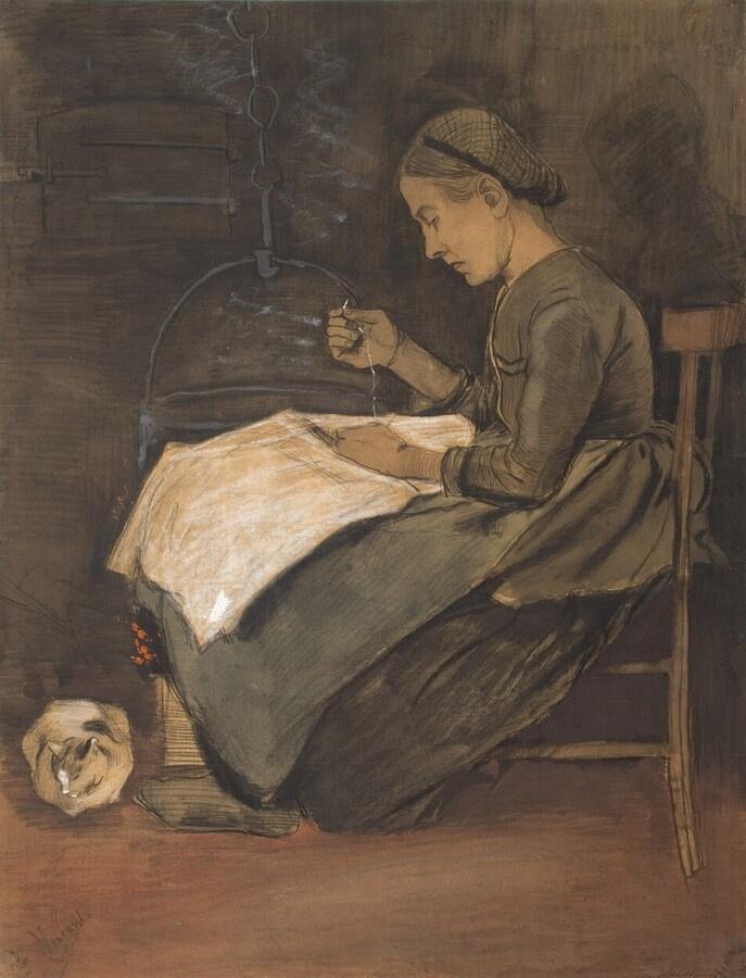 Винсент Ван Гог. Шьющая женщина и кот