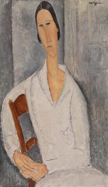 Amedeo Modigliani. Portrait of Anna Zboriv, resting on the back of the chair