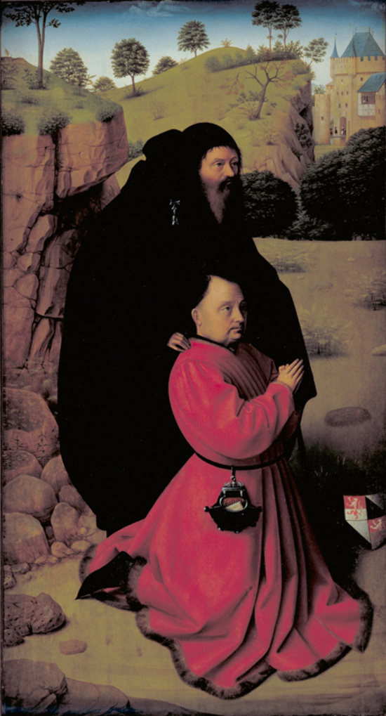 Petrus Christus. Portrait of a Donor in Scarlet Under the Protection of Saint Anthony