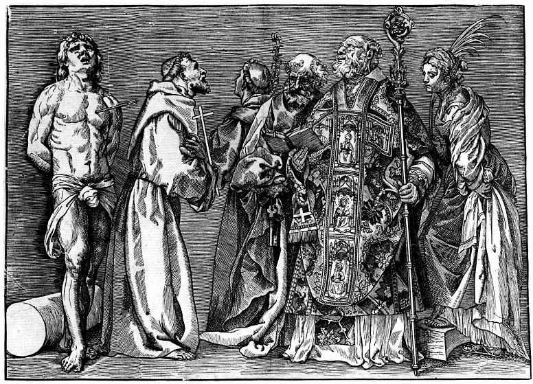 Тициан Вечеллио. Шестеро святых, слева направо: Екатерина, Николай, Пётр, Антоний, Франциск, Себастьян
