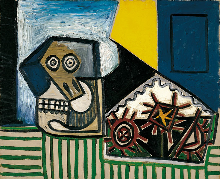 Pablo Picasso. Still life with skull and three sea urchins