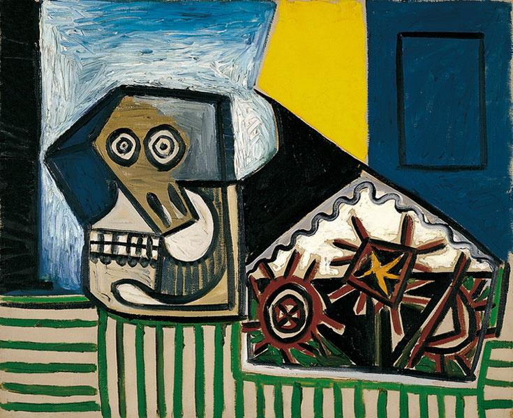 Пабло Пикассо. Натюрморт с черепом и тремя морскими ежами