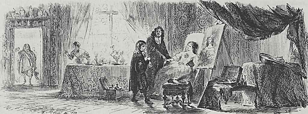 Адольф фон Менцель. Дама, позирующая для портрета, застигнута врасплох приходом мужа