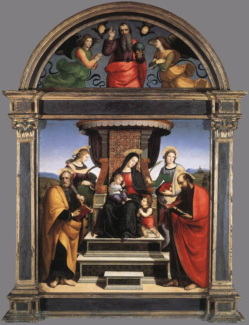 Raphael Sanzio. Altar of the Colonna: Madonna and child enthroned with saints (Madonna of the altar)