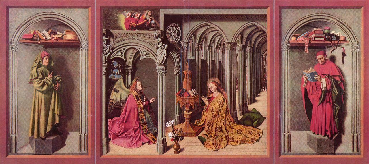 Бартелеми д' Эйк. Алтарь Благовещения, левая створка, внутренняя сторона внизу: Иисус, центральная часть: Благовещение Марии