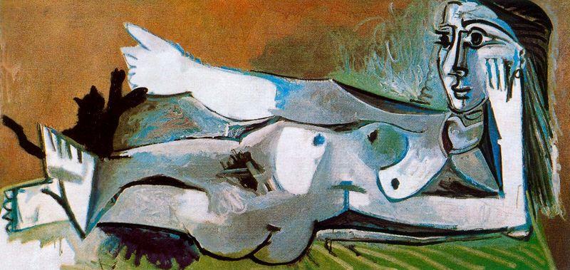Пабло Пикассо. Обнаженная женщина, играющая с котом