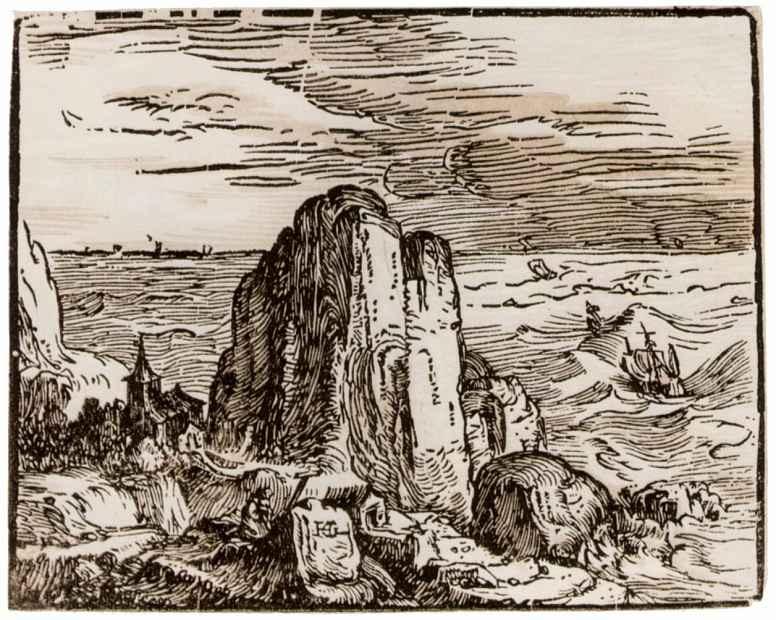 Хендрик Гольциус. Скалы на берегу