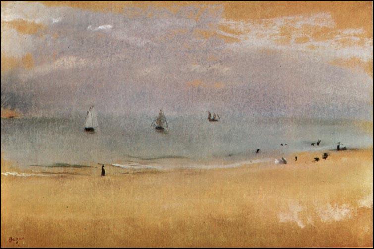 Эдгар Дега. Пляж с парусными лодками