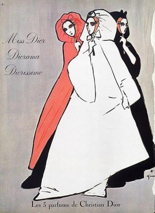 Renee Gruau. Advertising illustration Christian Dior