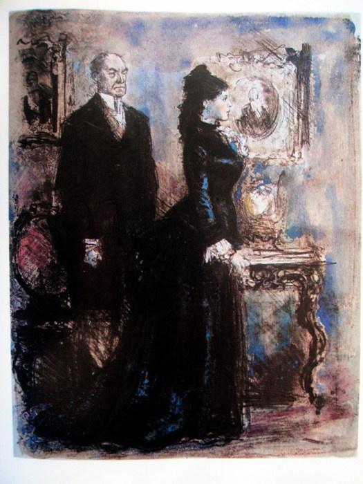 "Konstantin Ivanovich Rudakov. Karenin and Anna. Illustration for Leo Tolstoy's novel ""Anna Karenina"""