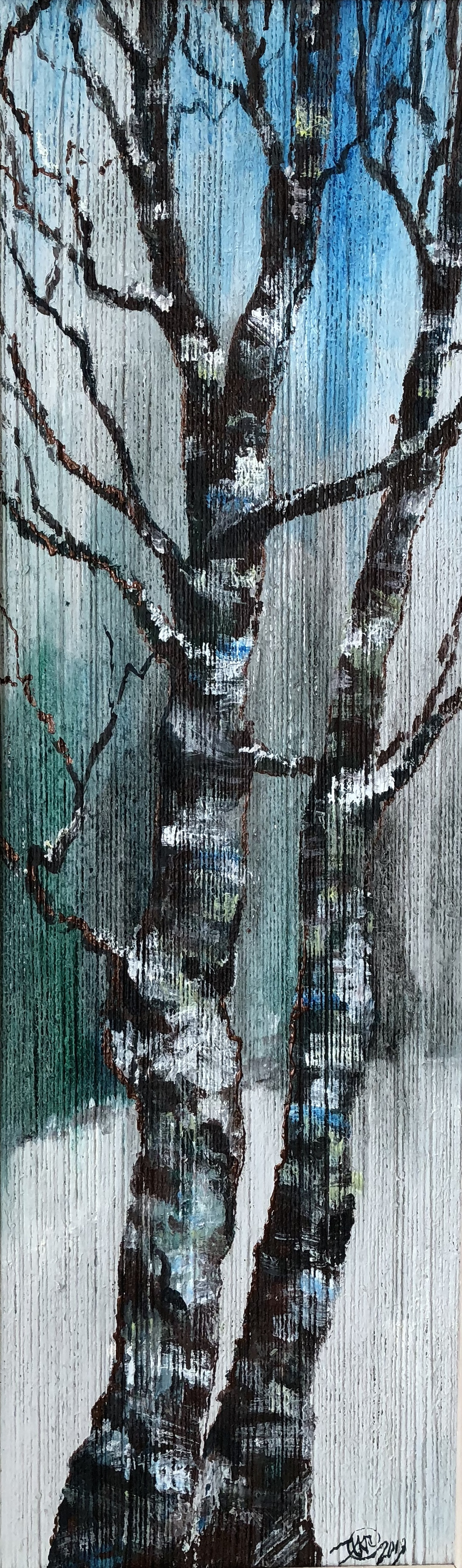Unknown artist. Winter birch