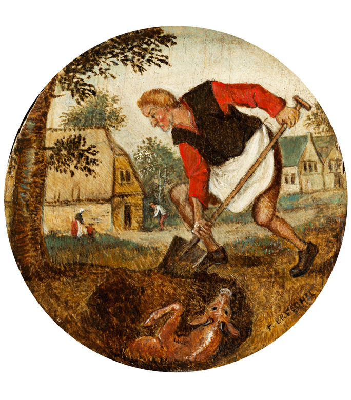 Peter Brueghel the Younger. The peasant and the calf in the pit. Allegory of untimely action