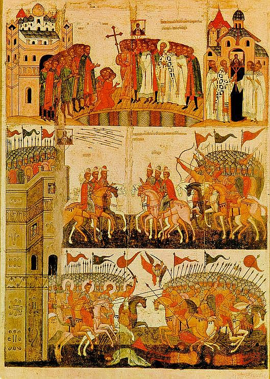 Icon Painting. Battle of the Novgorodians with the Suzdal