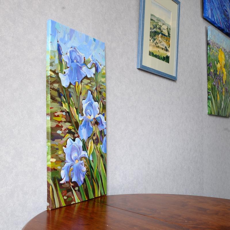 Three blue irises