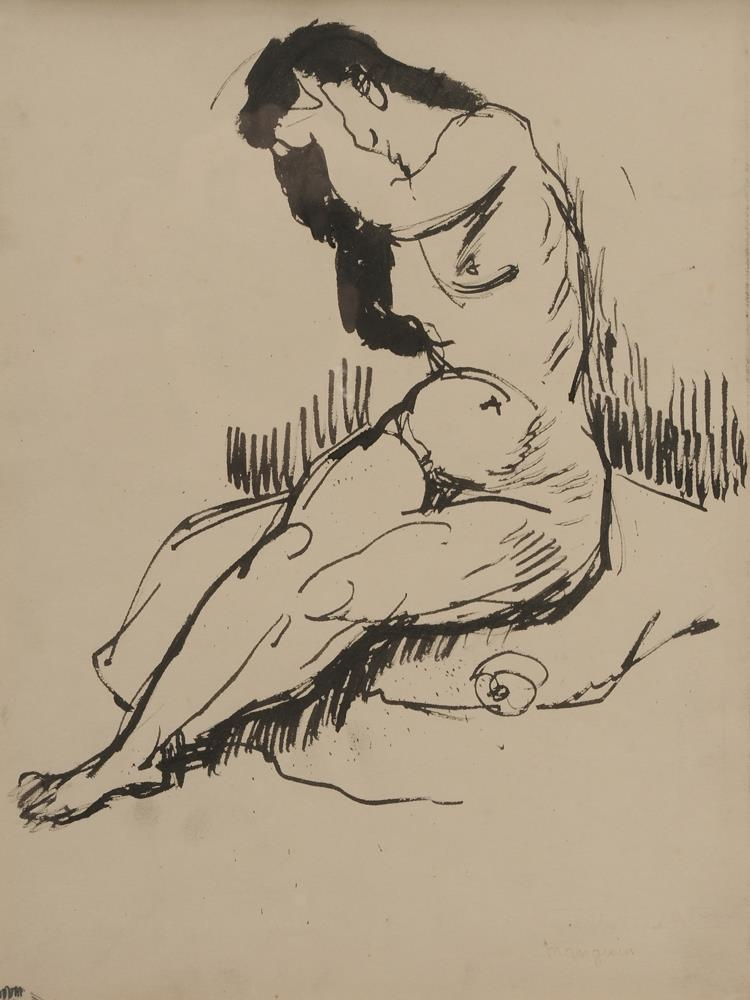 Henri Manguin. Nude, hand covering face. Sketch