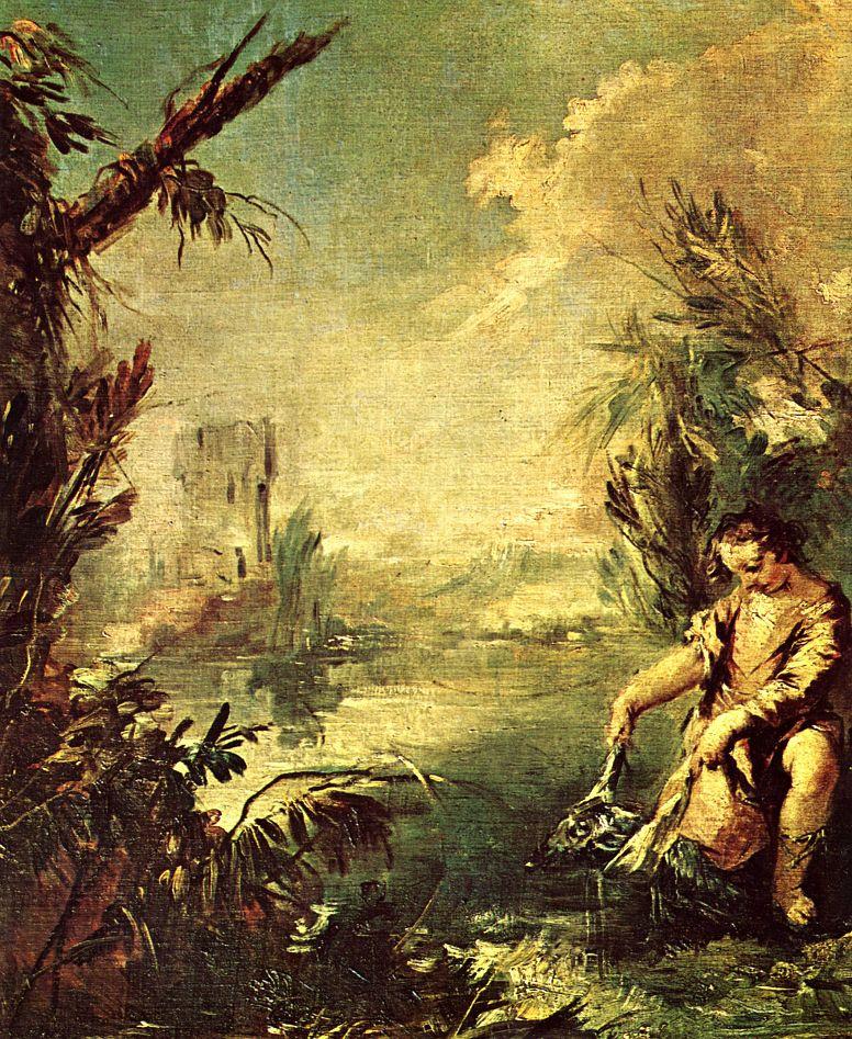 Франческо Гварди. Товия с рыбой и архангелом Рафаилом, фрагмент