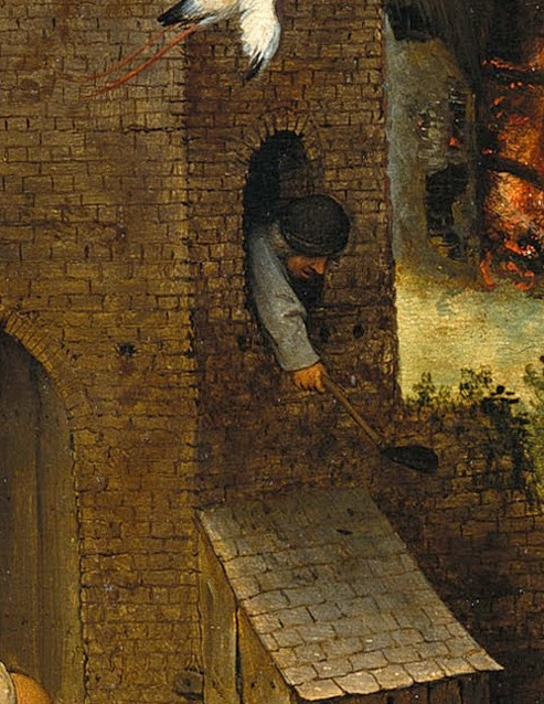 Pieter Bruegel The Elder. Flemish proverbs. Fragment: Kill two flies with one slap - to be successful, effective