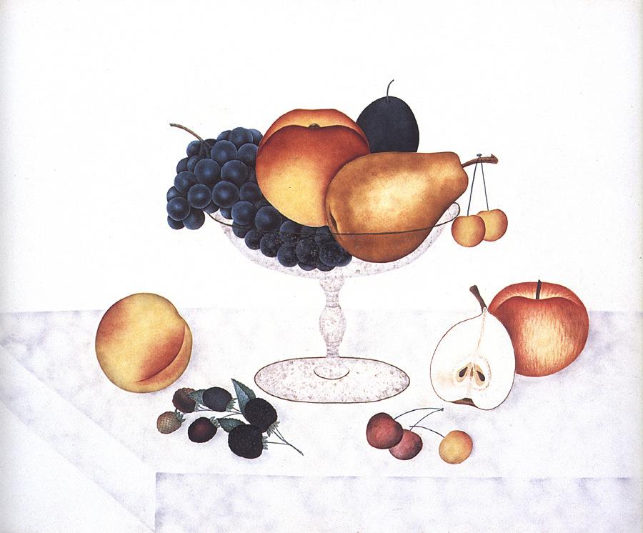 Emma Jane Cady. Fruit in a glass vase