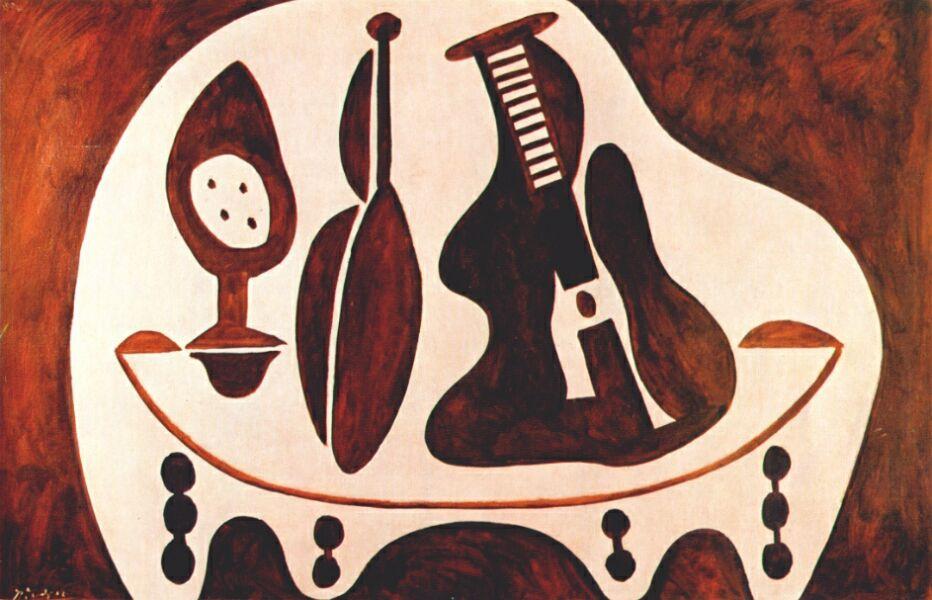 Пабло Пикассо. Фрукты, бутылка и гитара