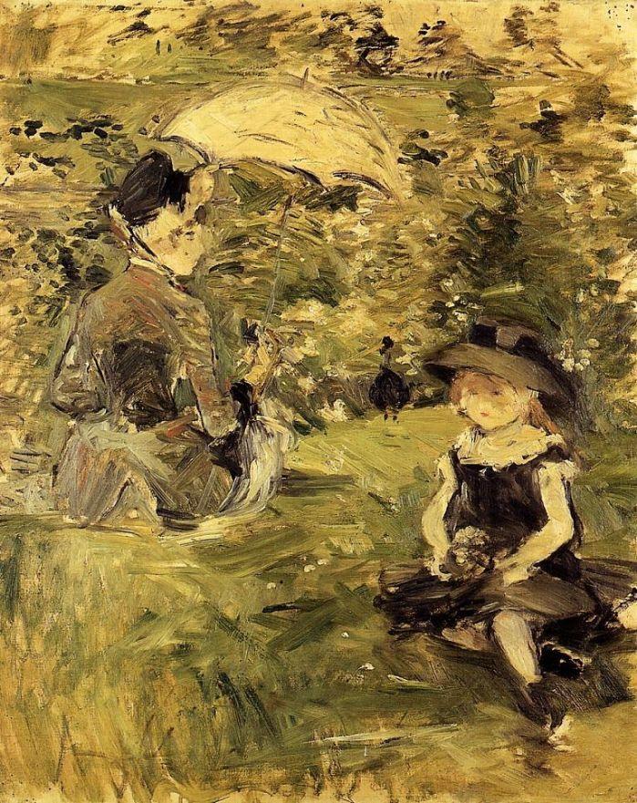 Берта Моризо. Молодая женщина с ребенком на островке