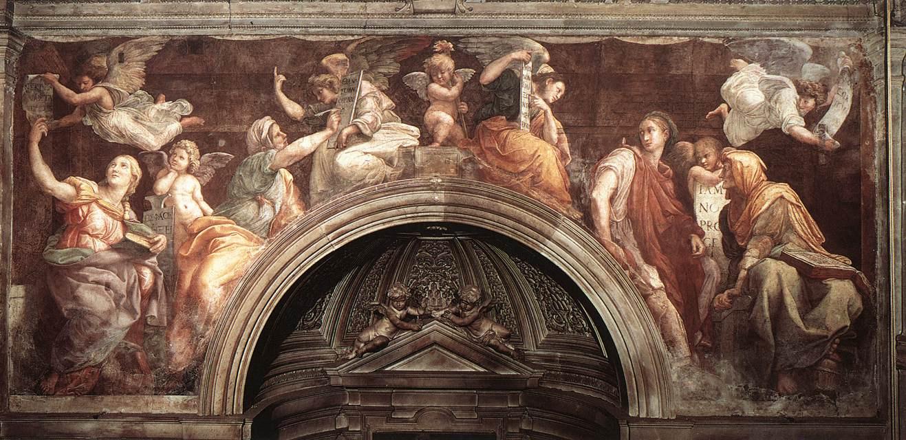 Рафаэль Санти. Сибиллы и Пророки. Фреска церкви Санта-Мария делла Паче, Рим. Фрагмент: Сибиллы