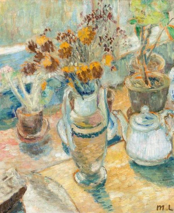 Михаил Федорович Ларионов. Натюрморт с цветами и посудой