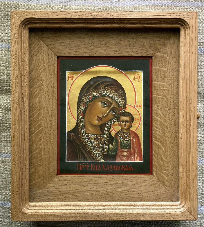 Moscow Icon Painting Workshop. Virgin of Kazan 21х17,in oak case книжка35х30 Board with the ark, and the two dowels, canvas, gesso, gold, oil, lacquer