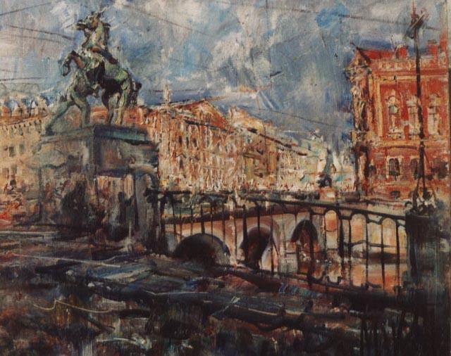 Nikolay Vasilyevich Maksimychev. Nevsky Avenue. Anichkov Bridge.