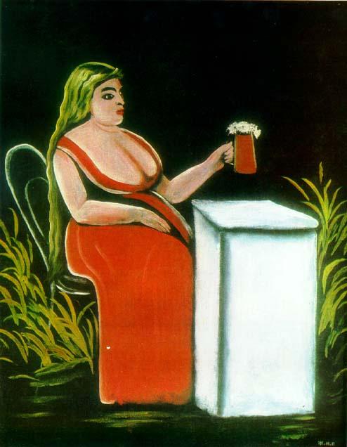 Нико Пиросмани (Пиросманашвили). Женщина с кружкой пива