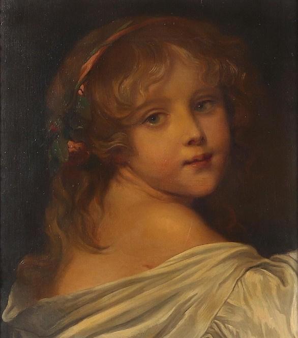 Неизвестный  художник. Девочка с розами в волосах