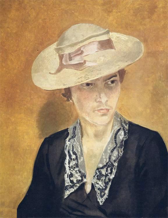Александр Александрович Дейнека. Портрет девушки в соломенной шляпе