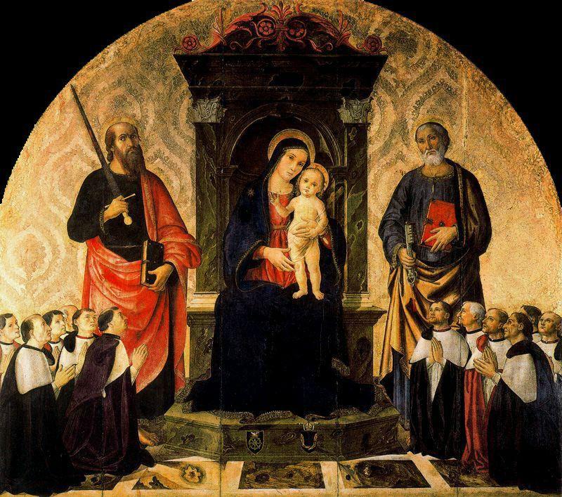 Антониаццо Романо. Мария с Младенцем, святые Петр и Павел и 12 магистров Роты