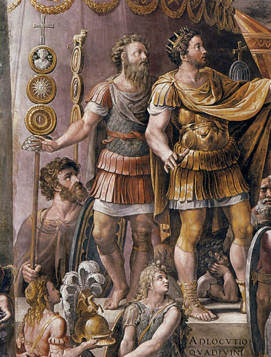 Raphael Sanzio. Fresco the hall of Constantine Palace of the Pope in the Vatican. Fragment