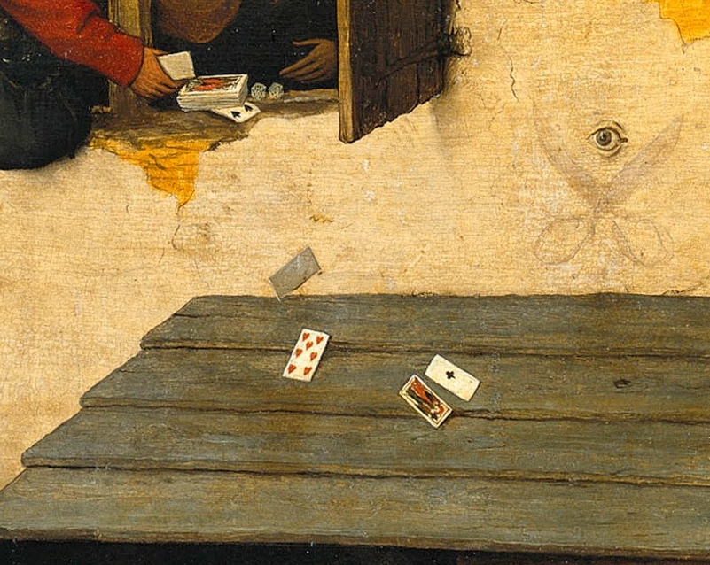 Pieter Bruegel The Elder. Flemish proverbs. Fragment: Depends on how the card goes down - depends on the case