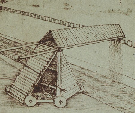 Leonardo da Vinci. The mechanism for the assault of the walls