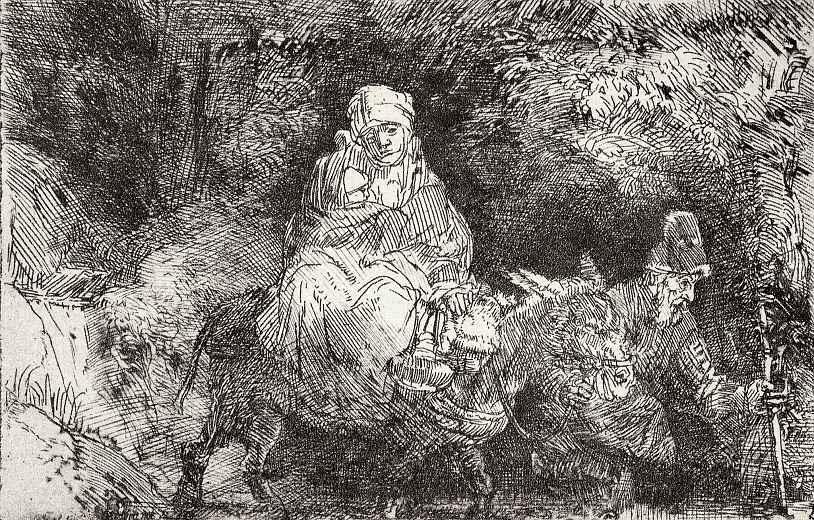 Рембрандт Ван Рейн. Бегство в Египет, переход через ручей
